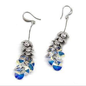 Silver layers flowers swarovski crystal earrings